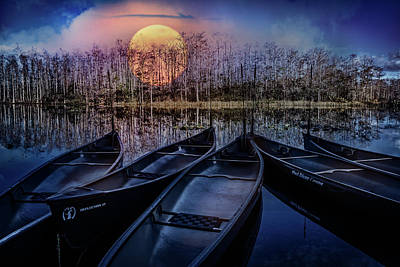 Photograph - Moon Rise On The River by Debra and Dave Vanderlaan