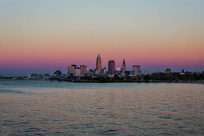 By Jackie Photograph - Moon Rise Over Cleveland by Jackie Sajewski