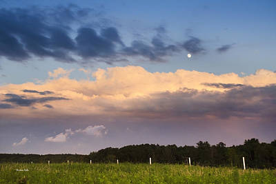 Photograph - Moon Rise Over Country Fields Sunset Landscape by Christina Rollo