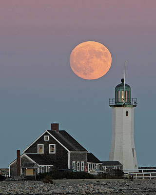 Photograph - Moon Rise Over Scituate by Stephen Flint