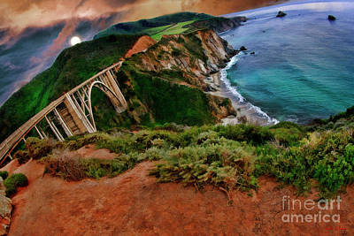 Photograph - Moon Rise Over The Bixby Creek  Bridge  by Blake Richards