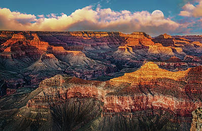 Behind The Rocks Photograph - Moon Rise Over The Canyon by Janet Ballard