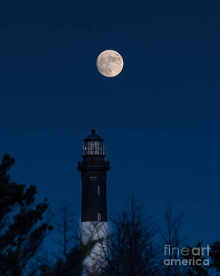 Photograph - Moon Rise Over The Lighthouse by Alissa Beth Photography