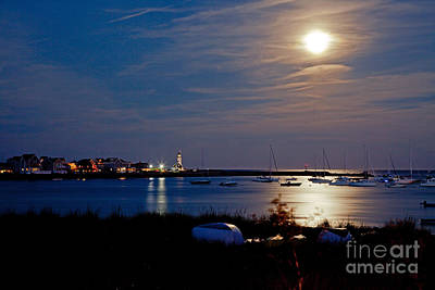 Photograph - Moon Rise Scituate Lighthouse by Butch Lombardi