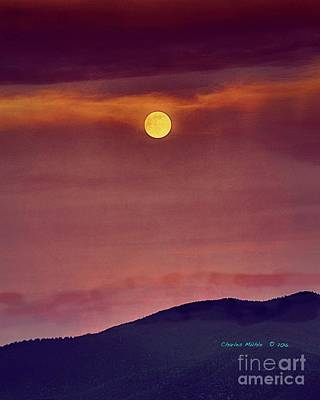 Mixed Media - Moon Rise With Texture  by Charles Muhle