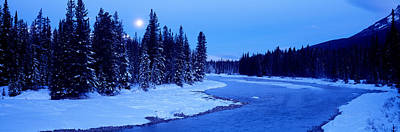 Snow-covered Landscape Photograph - Moon Rising Above The Forest, Banff by Panoramic Images