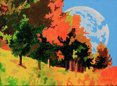 Painting - Moon Rising Over Autumn Trees by John Lautermilch