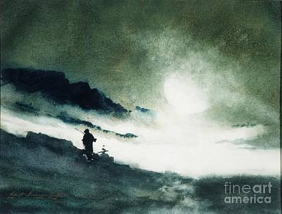 Superstition Mountains Painting - Moon Rising Over Fog Clouds by Celestial Images