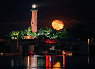 Photograph - Moon Rising Over Jupiter Lighthouse by Justin Kelefas