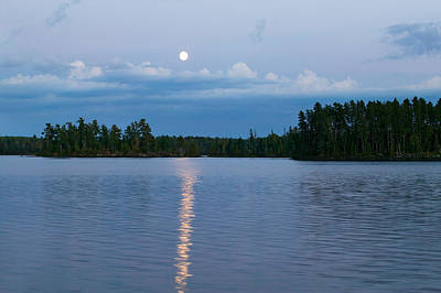 Moon Rising Over Lake One, Water Art Print