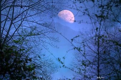 Moon Rising Over Mountain Art Print by Molly Dean