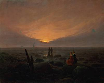 Caspar Painting - Moon Rising Over The Sea by Caspar David Friedrich