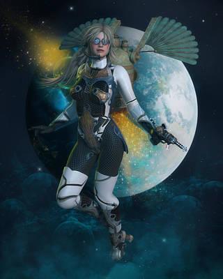 Digital Art - Moon Rising by Rachel Dudley