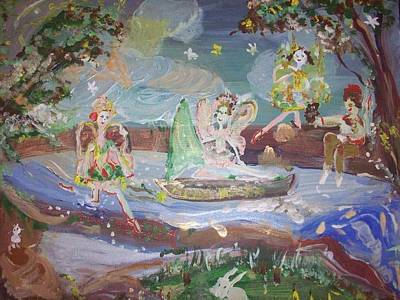 Art Print featuring the painting Moon River Fairies by Judith Desrosiers