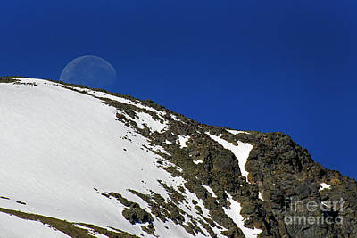 Photograph - Moon Set Rocky Mountain National Park-signed-#6967 by J L Woody Wooden