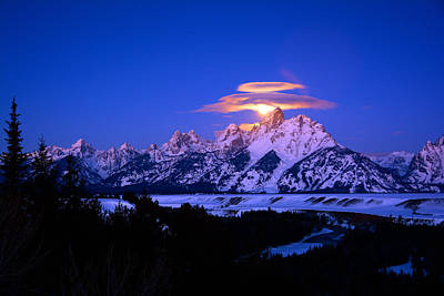 Photograph - Moon Sets Over The Tetons by Raymond Salani III