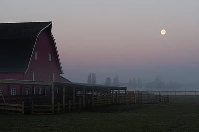 Photograph - Moon Setting Behind Barn by Jim Corwin