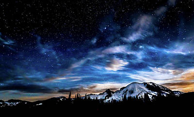Photograph - Moon Setting Behind Mt Rainier  by Rob Green
