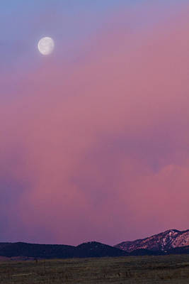 Photograph - Moon Setting First Light Sunrise Boulder County Colorado by James BO Insogna
