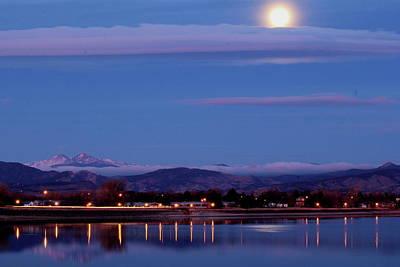 Photograph - moon setting Lake Loveland by Trent Mallett