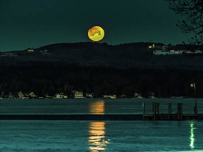 Photograph - Moon Setting Over Winnisquam by Mim White