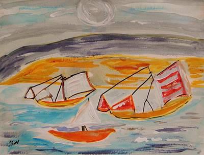 Sea Moon Full Moon Drawing - Moon Shadow On Sailing Boats by Mary Carol Williams