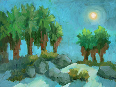 Art Print featuring the painting Moon Shadows Indian Canyon by Diane McClary