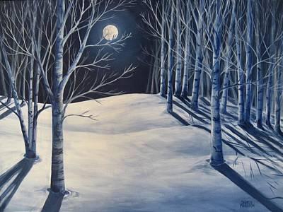 Snowy Night Painting - Moon Shadows by Sharon Marcella Marston