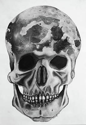 Drawing - Moon Skull by Andy Jeter