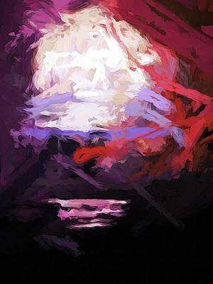 Digital Art - Moon Sky Pink Sea by Jackie VanO