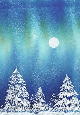 Painting - Moon Snow Trees by Lisa Le Quelenec