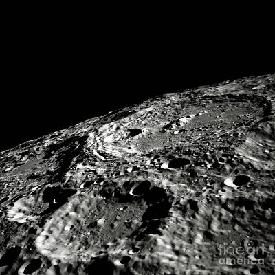 Photograph - Moon Surface Crater - Close-up Space Image by Doc Braham