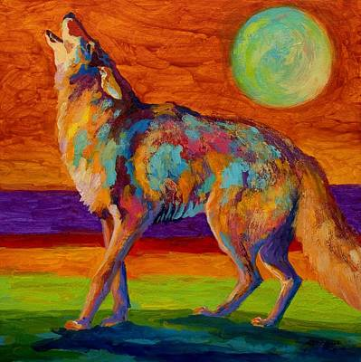 Western Painting - Moon Talk - Coyote by Marion Rose