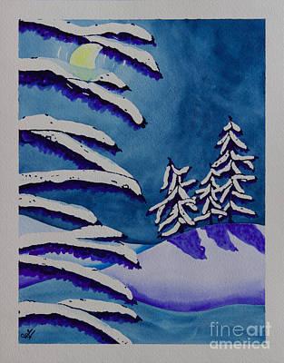 Contemplative Painting - Moon Through Trees by Tonya Hudson