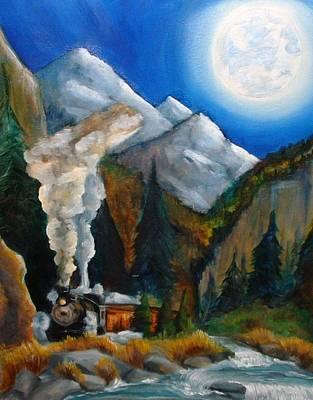 Moon Train  Art Print by Andrea  Darlington