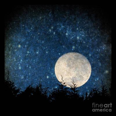 Moon, Tree And Stars Art Print
