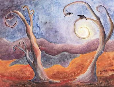 Painting - Moon Tree Autumn by Lesley Atlansky