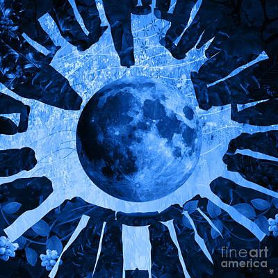 Past Twilight Digital Art - Moon Turns Blue by Neil Finnemore