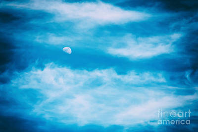 Luna Photograph - Moon Visible In Blue Sky With White Soft Clouds by Radu Bercan