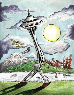 Jogging Drawing - Moon Walking Spaceneedle by Silverio Godinez