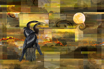 Digital Art - Moon Watching - Anhingas by rd Erickson