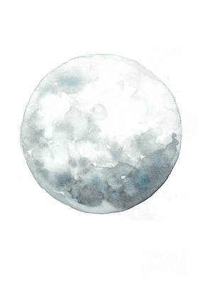 Moon Drawing Painting - Moon Watercolor Art Print Painting by Joanna Szmerdt