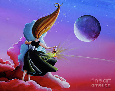 Night Lamp Painting - Moon Whisperer by Cindy Thornton