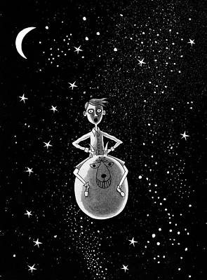 Moon Drawing - Moonage Daydream  by Andrew Hitchen