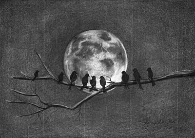 Blackbird Drawing - Moonbirds by J Ferwerda