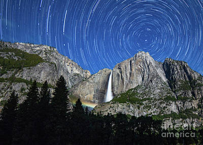 Moonbow And Startrails  Art Print