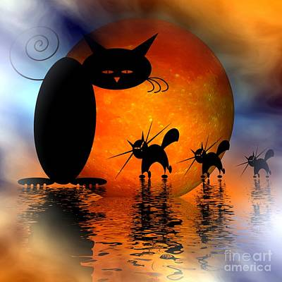 Digital Art - Mooncat's Catwalk by Issabild -