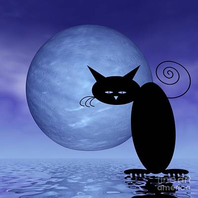 Digital Art - Mooncat's Loneliness by Issabild -