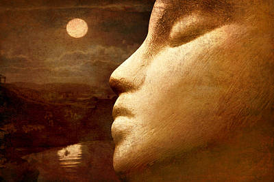 Surrealism Royalty-Free and Rights-Managed Images - Moonface by Jeff  Gettis