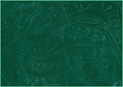 Moonfish Drawing Negative Green Chalk Art Print